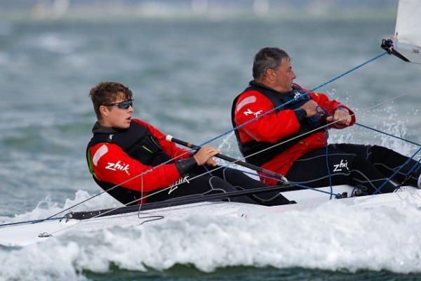 Will and David Heritage   powered up on Freddie Flintoff, Flying 15 – photo Paul Wyeth