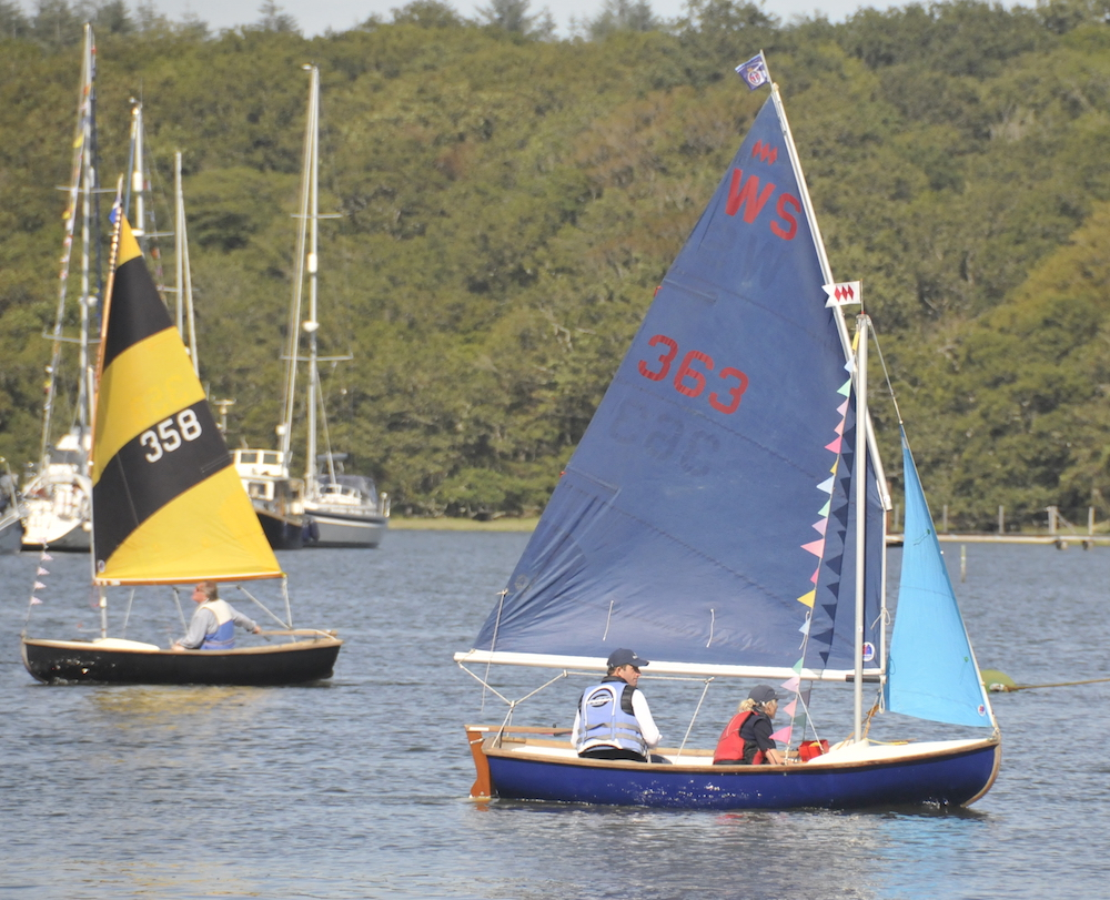 – A slight change of pace for Sir Ben Ainslie in a Scow on the Beaulieu River yesterday – photo Julio Graham