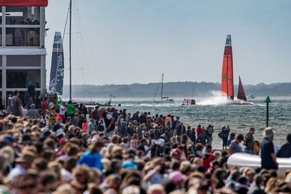 The 50ft foiling SailGP catamarans competed at Cowes in the class's inaugural European event