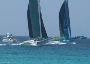 Closer than close on the finish line between the two MOD70s – MS Barbados Concise 10 and Phaedo3 – in last year's Mount Gay Round Barbados Race.