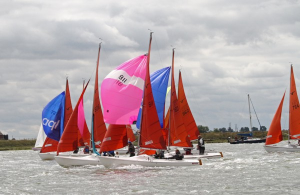 Closer than close in the popular Squib class that celebrates its 50th anniversary this year – photo Roger Mant
