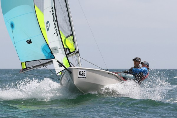 Ben Hutton-Penman and Lucy Hewitson on their way to winning the RS Feva nationals at Torbay