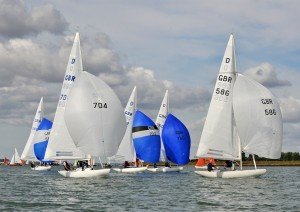Ian Gray and team on Scorpio leads the Dragon fleet during Sunday's light wind race – photo www.eastcoast.photos