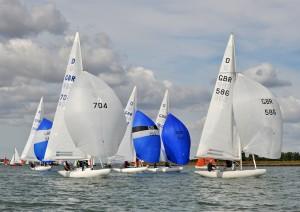 Ian Gray and team on Scorpio leads the Dragon fleet during Sunday's light wind race – photo www.eastcoast.photos