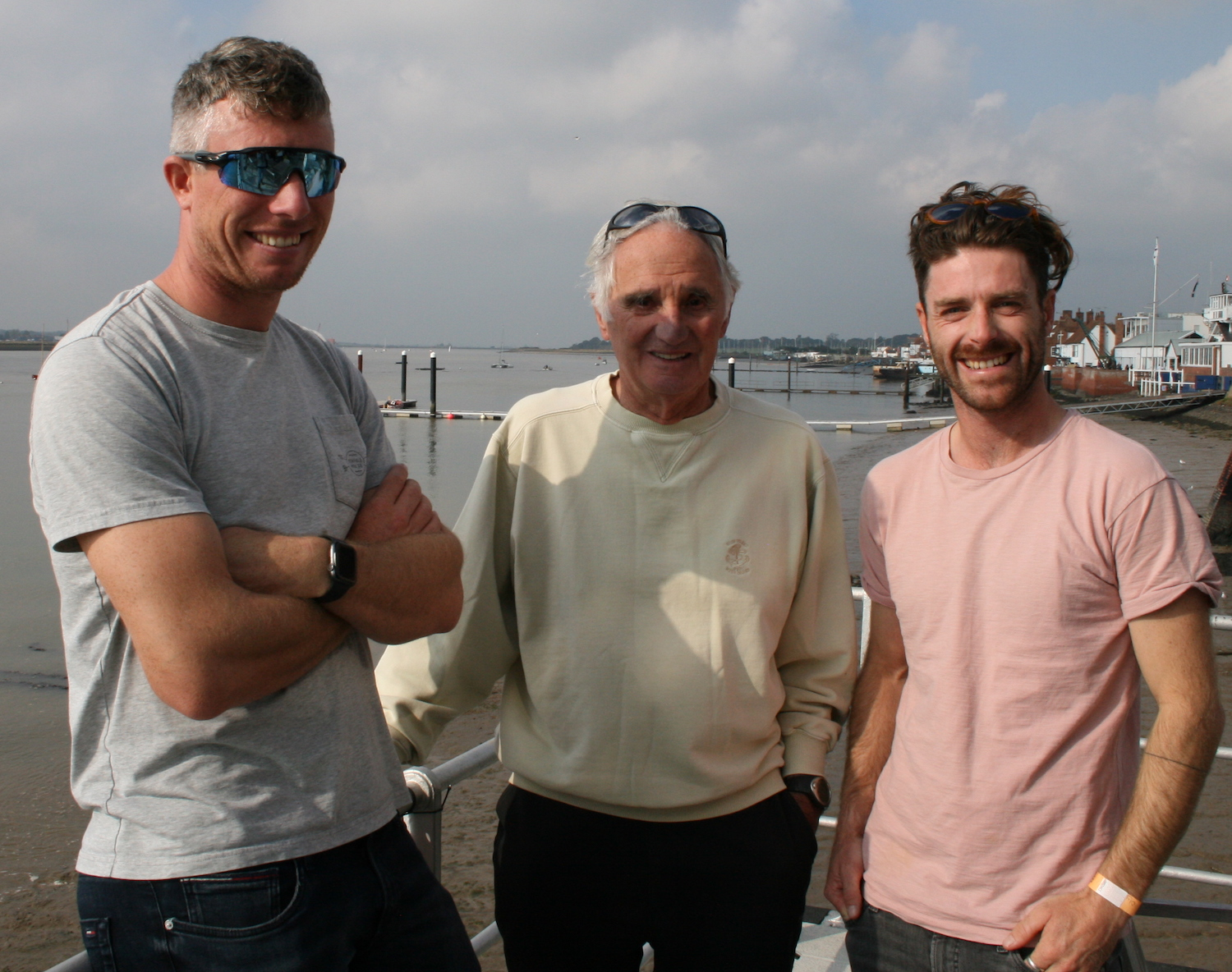 Olympic medallists past and present – Stuart Bithell, Keith Musto, Luke Patience – photo Sue Pelling