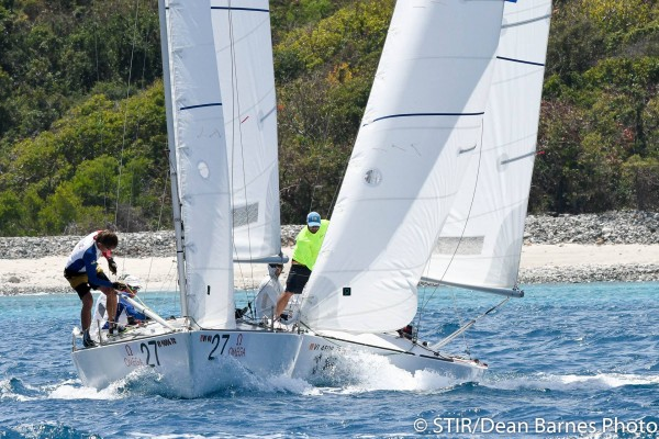 Close racing in the IC24 fleet at St Thomas International Regatta – photo Dean Barnes/STIR