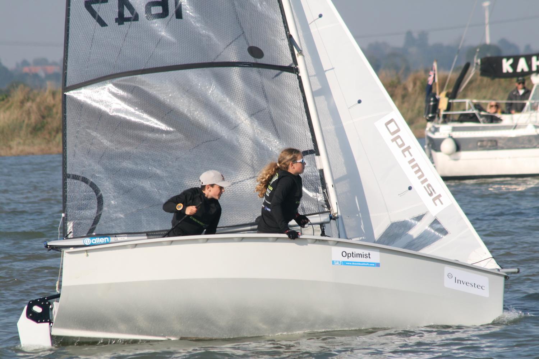 Super consistent Optimist sailors, Patrick Bromilow and Tabitha Davies enjoy two third places today – photo Sue Pelling