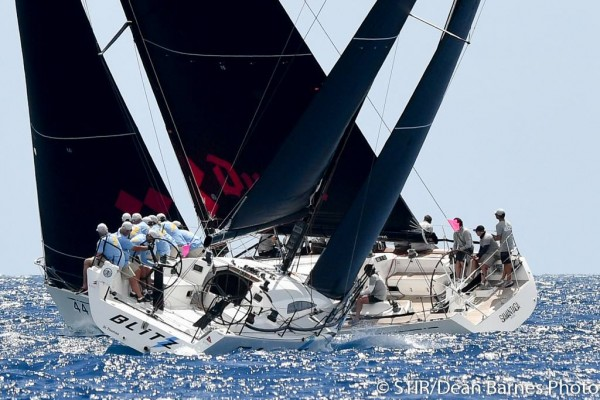 Perfect conditions for close racing in CSA Class 1 at St Thomas International Regatta – photo Dean Barnes/STIR