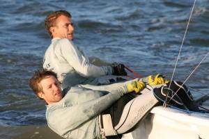 Matt Burge and Toby Lewis, overnight leaders – photo Sue Pelling
