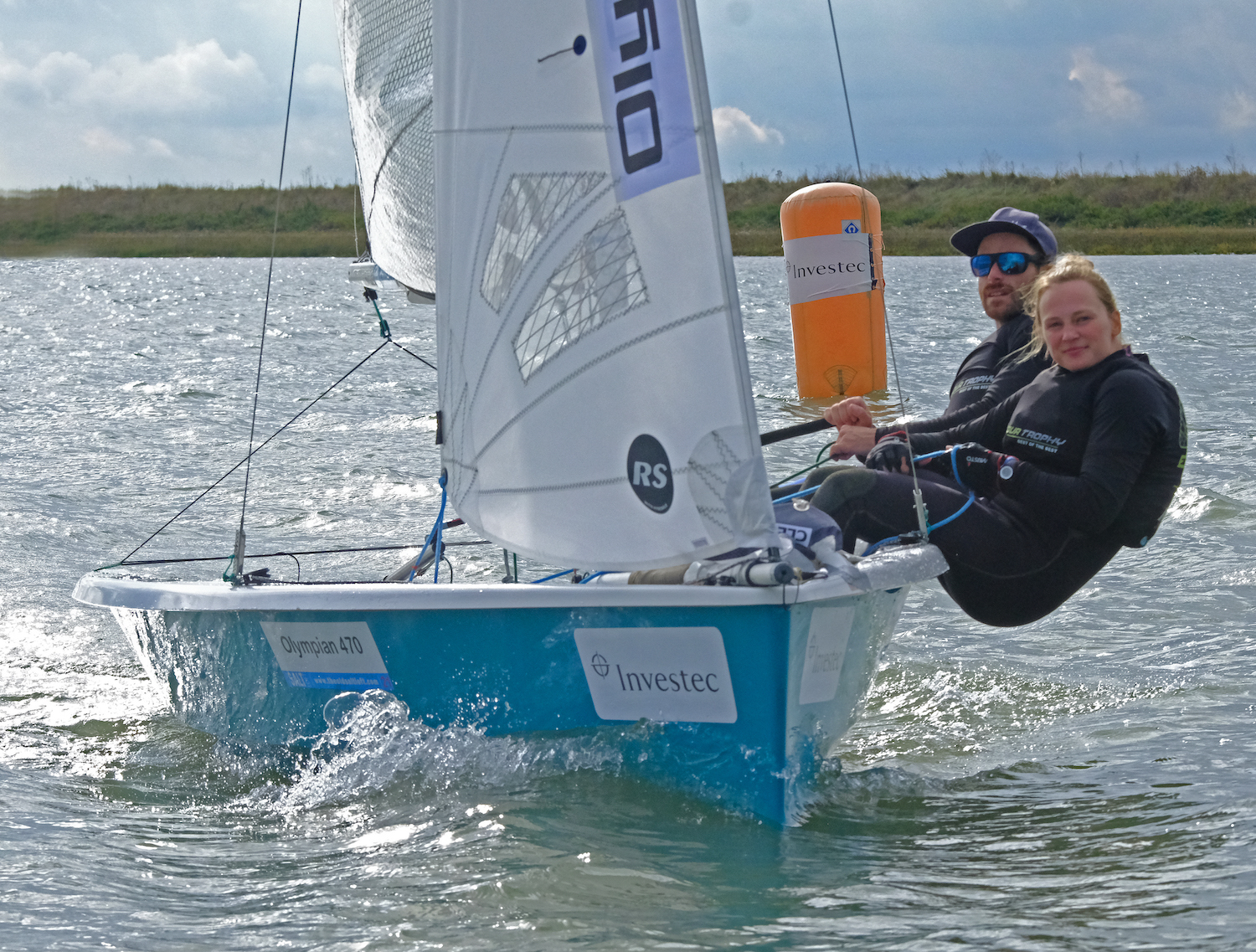 Luke Patience and Mary Henderson Olympian 470 representatives on their way to an overall win – photo Roger Mant